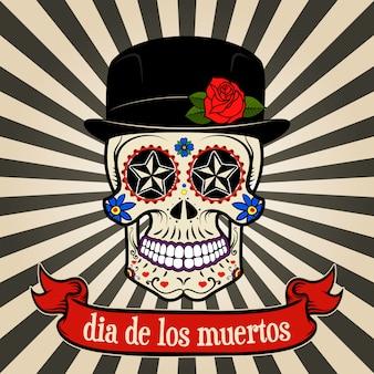 Tag der toten. dia de los muertos. zuckerschädel auf weinlesehintergrund mit fahne.
