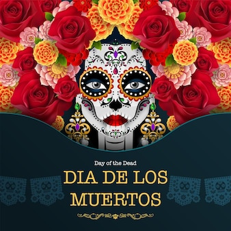 Tag der toten, dia de los muertos, zuckerschädel mit ringelblumenkranz auf schwarzem papierhintergrund.