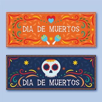 Tag der toten horizontalen banner flaches design