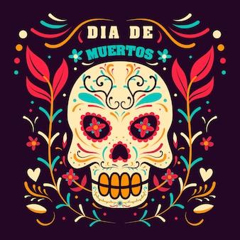 Tag der toten in mexiko, dia de los muertos feiertagsschablone