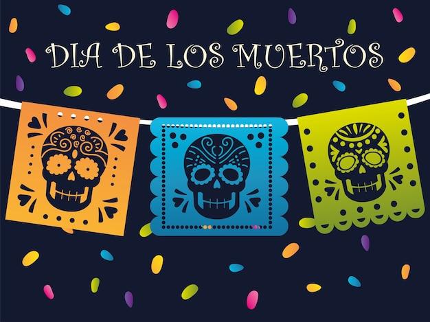 Tag der toten, mexikanische ammer mit totenköpfen und konfetti-feier
