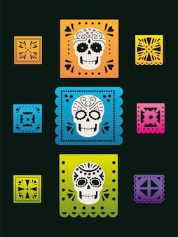 Tag der toten, mexikanische ammer mit totenkopf- und blumenfeier
