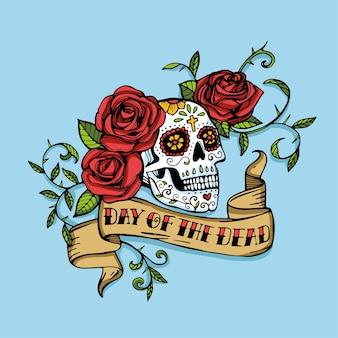 Tag der toten mexikanischen zuckerschädel verziert mit roten rosen und vintage-band mit schriftzug.