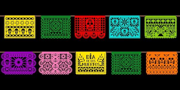 Tag der toten papierdekoration. mexikanischer feiertag dia de los muetros schnitt papierkunst lokalisiert auf schwarzem hintergrund. illustration der vektorgirlanden