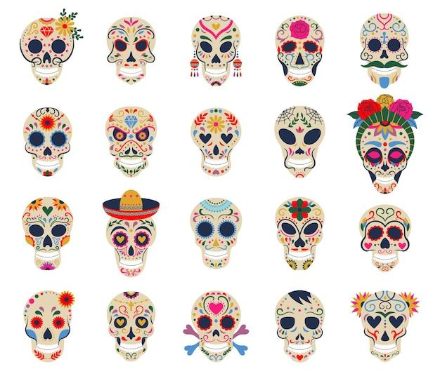 Tag der toten schädel dia de los muertos traditionelle mexikanische zucker menschliche kopfknochen vektorsymbole