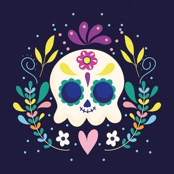 Tag der toten, schädelblumen blumenherz dekoration traditionelle mexikanische feier