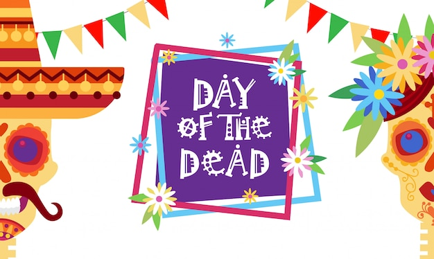Tag der toten traditionellen mexikanischen halloween dia de los muertos urlaub party dekoration banner einladung