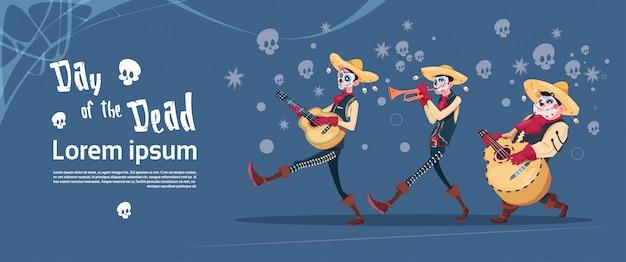 Tag der toten traditionellen mexikanischen halloween urlaub party dekoration banner einladung