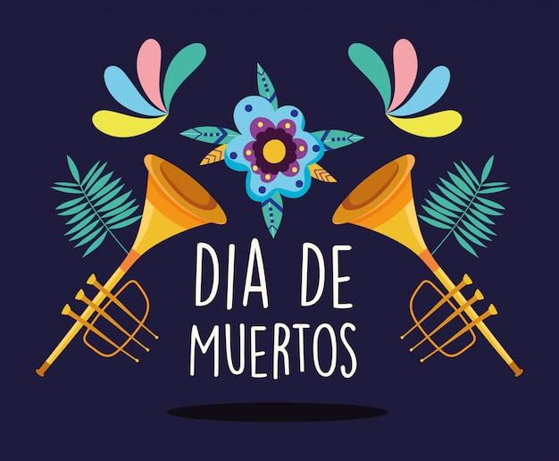 Tag der toten, trompeten musikinstrument blumen dekoration traditionelle feier mexikaner