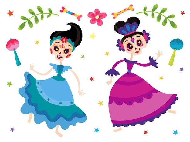 Tag der toten, vektorgrafik von tanzenden mexikanischen cartoon-frauen in violetter und blauer tracht mit stern, maracas einzeln auf weiß. halloweenkostüm.