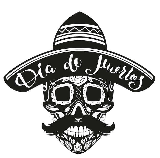 Tag der toten von dia de muertos. schwarzer schädel im mexikanischen hut