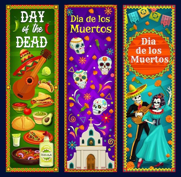 Tag der toten zuckerschädel, skelett und catrina banner. mexikanischer dia de los muertos sombrero, gitarren- und ringelblumenblüten, musikfestival mariachi und calavera, kirche, brot und tequila