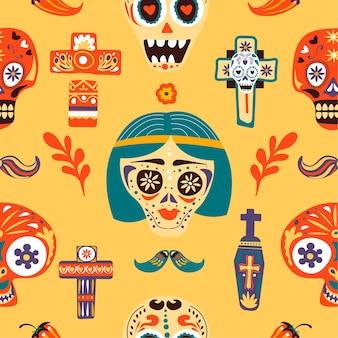 Tag der totenfeier der mexikanischen feiertage