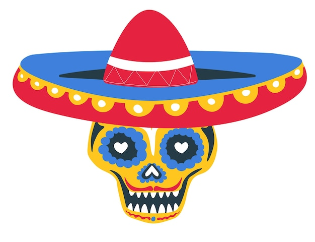 Tag der totenfeier des mexikanischen feiertags, isolierter schädel verziert mit ornamenten, linien und herzen. calavera trägt sombrero-hut, mexikanische tradition an halloween. vektor im flachen stil