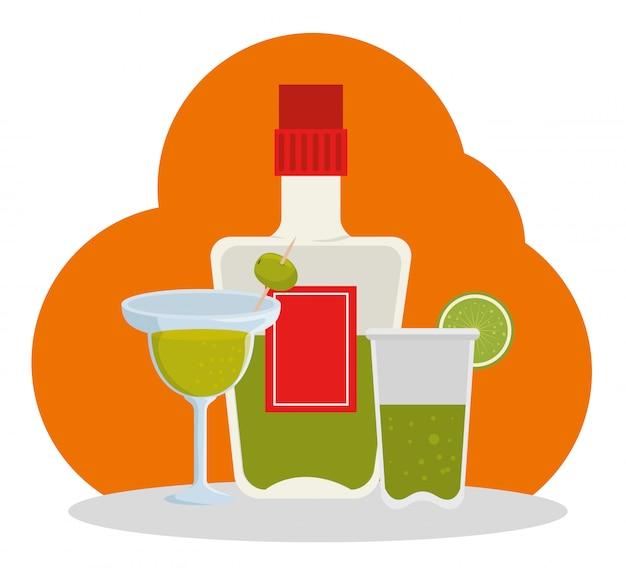 Tag der totenfeier mit tequila-flasche