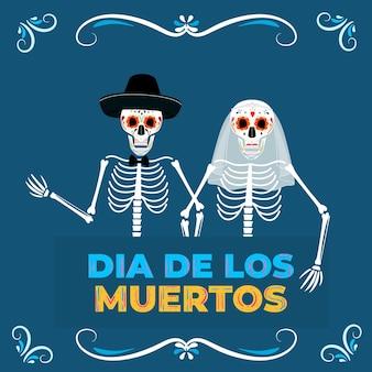 Tag der totenparty. dea de los muertos-banner. gemalte skelette braut und bräutigam.