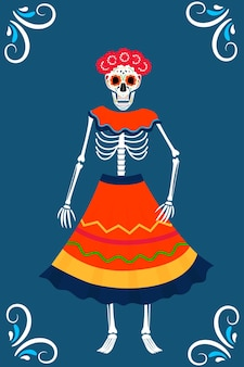Tag der totenparty. dea de los muertos-karten. gemaltes skelett in kranz und kleid.