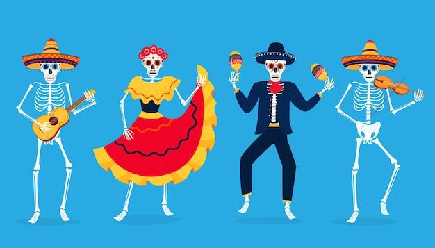 Tag der totenparty. dia de los muertos. bemalte skelette spielen musikinstrumente und tanzen. zuckerschädel.