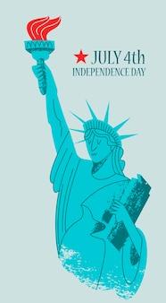 Tag der unabhängigkeit. der 4. juli. freiheitsstatue.