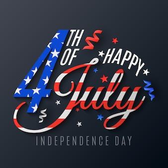 Tag der unabhängigkeit. schriftzug für den 4. juli. festliche textfahne auf einem dunklen hintergrund. verstreute serpentine und konfetti. flaggenmuster der vereinigten staaten von amerika.