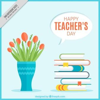 Tag des lehrers hintergrund mit vase und bücher