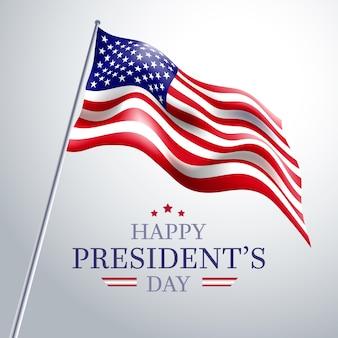 Tag des präsidenten mit niedriger ansicht der realistischen markierungsfahne