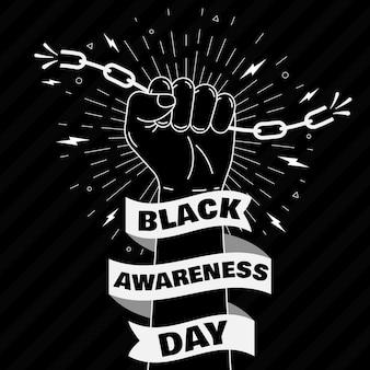 Tag des schwarzen bewusstseins der faust, die ketten hält