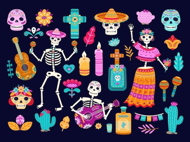Tag des todes. mexikanische dekorationen, süße schädelskelette blumen. cartoon mexiko authentische todeskulturelemente, kerzenaltäre vektorsatz. illustration schädel und tote kultur mexikaner, tag tod mexiko