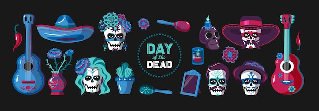 Tag des toten cartoon-elementsatzes