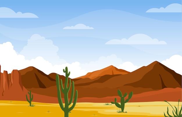 Tag in der beträchtlichen westlichen amerikanischen wüste mit kaktus-horizont-landschaftsillustration