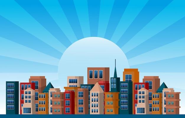 Tag stadt städtischer wolkenkratzer gebäude stadtbild ansicht flaches design illustration