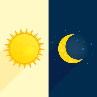 Tag und nacht illustration