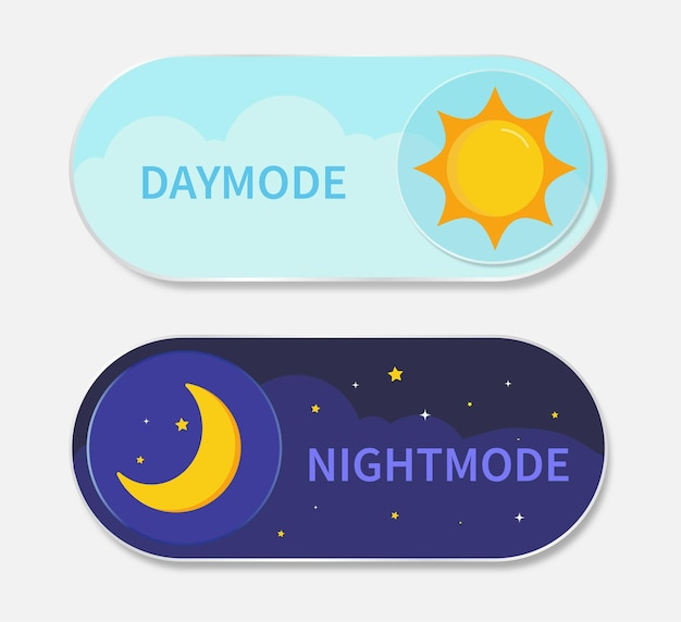 Tag- und nachtmodus-schalter für sonne und mond.