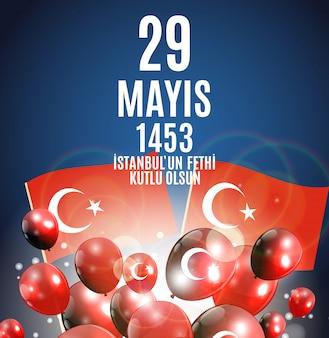 Tag von istanbul'un fethi kutlu olsun mit übersetzung: tag ist glückliche eroberung von istanbul. türkische urlaubsgrüße.