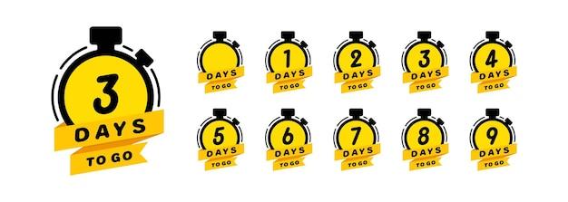 Tage bis zum countdown-symbolsatz