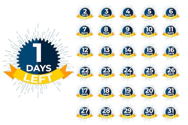 Tage übrig abzeichen. verkaufsangebot countdown für den einkaufstag.
