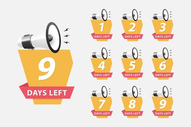 Tage übrig. begrenzte abzeichen für die förderung. countdown für nummern einstellen