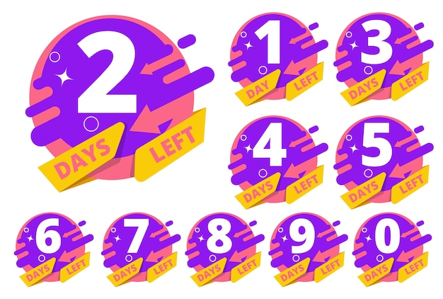 Tage übrig. countdown stunden uhr zeit business badges vorlage farbigen satz. countdown tag links abzeichen, timer verkauf illustration