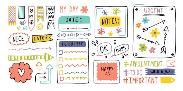 Tagebuch kugel niedliche journal randelemente hinweis symbol aufkleber für die schule vektor-illustration