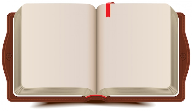 Tagebuch mit lesezeichen öffnen