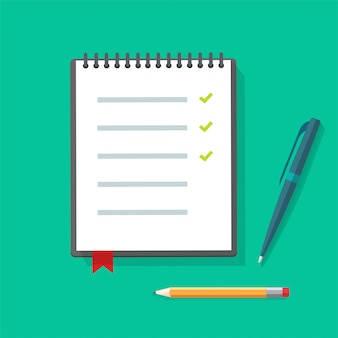 Tagebuch papier notizblock oder notizbuch illustration mit checkliste und kugelschreiber auf tisch schreibtisch zu tun