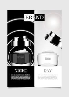 Tages- und nachtcreme mit schwarzem und weißem hintergrund