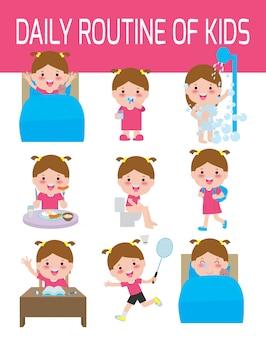 Tagesablauf der glücklichen kinder. infographik element. gesundheit und hygiene, tägliche routine für kinder, illustration.