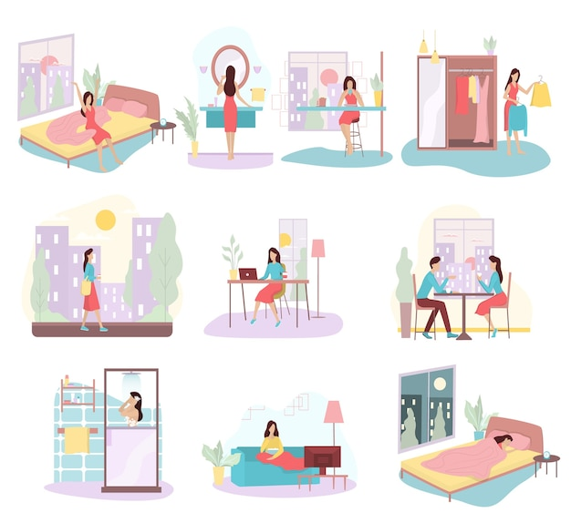 Tagesablauf einer frau eingestellt. mädchen, das am morgen frühstückt, arbeitet und schläft. zeitplan für geschäftsfrauen. arbeiten im büro am computer. illustration im cartoon-stil