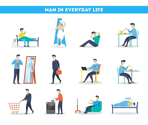 Tagesablauf eines mannes eingestellt. morgens frühstücken