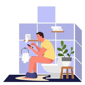 Tagesablauf eines mannes. mann sitzt auf der toilette und hält handy. männliche person im badezimmer. tagesablaufkonzept, moderner lebensstil. illustration im cartoon-stil