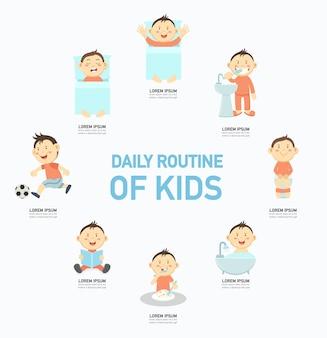 Tagesablauf von kindern infographic, illustration.