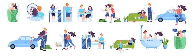 Tagesablauf von mann und frau liebendem paar. frühstück kochen, joggen und einkaufen. leben. paar auf verschiedenen aktivitätsset. junge familie zu hause. illustration
