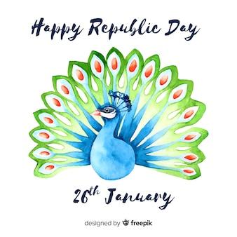 Tageshintergrund der indischen republik des aquarells