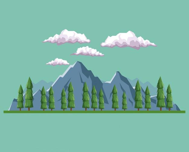 Tageshintergrundlandschaft des berges und des tales der bäume